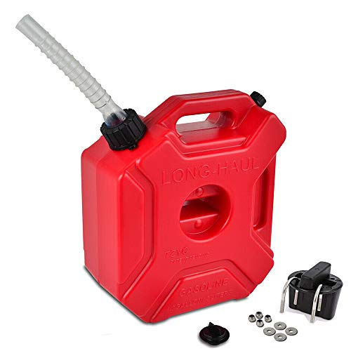 ORANDESIGNE 1.3 Gallon Gas Can Portable Plastic Gas Container Storage with Pack Mount and Gas Can Pour Spout Emergency Backup Fuel for Motorcycle SUV ATV Dirt Bike Car BoatVehicle Red (5L)