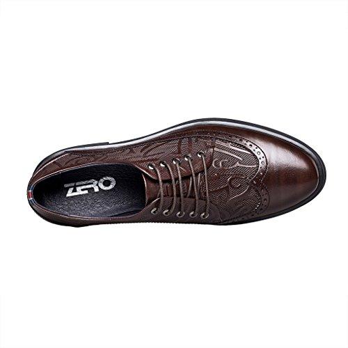 Zro Heren Classic Lace Up Oxfords Casual Wing Tip Brogue Lederen Schoenen Bruin