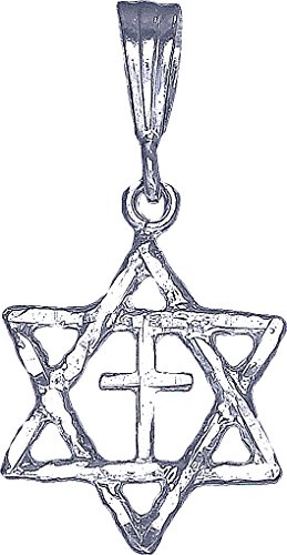 - Sterling Silver Star of David with Cross Pendant Necklace Charm 18