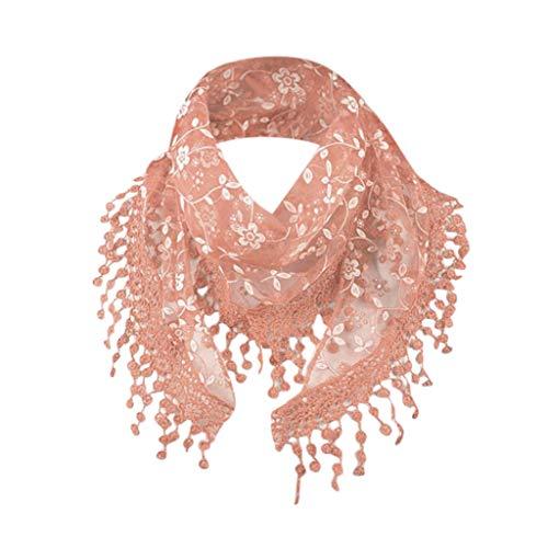 Fashion Lace Tassel Sheer Burntout Floral Print Triangle Mantilla Scarf Shawl ()