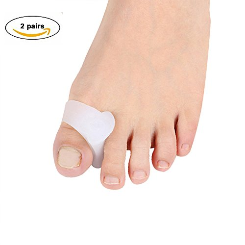 Zinnor Silicone Toe Separator, 2 Pairs Toe spreaders for Bunion or Overlapping Toes Helping Foot Pain Relief Toes Corrector Thumb Eversion Device White