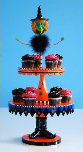 Glitterville Halloween 2-tier Witch Cupcake Stand Holder, 26.5 Inches Tall