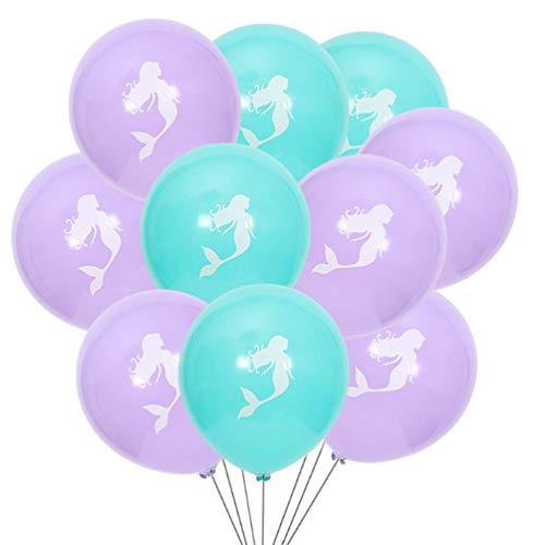 Chelsea 10PCS/Set Mermaid Pattern Latex Balloons DIY Halooween Party Decoration Purple -