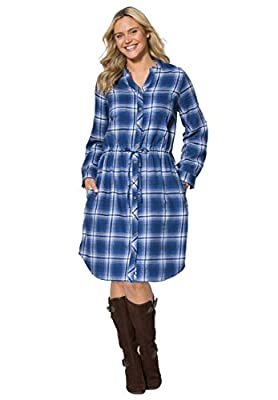 Woman Within Plus Size Flannel Shirtdress