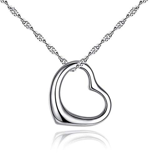 Designer Inspired Open Heart Pendant Necklace Sterling Silver 925 18 inch ()