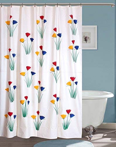 Yellow Weaves PVC Flowers Hand Painted Shower Curtain(54x80-inch, Black 8 Hooks)