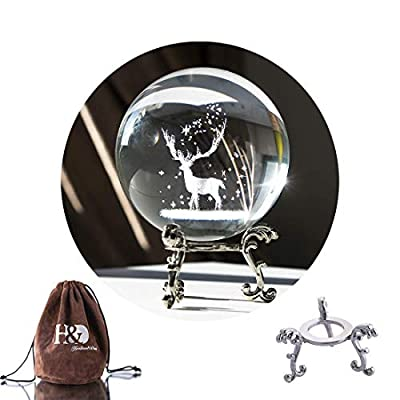 H&D HYALINE & DORA 3D Laser Gifts 3D Crystal Glass Ball with Metal Stand Home Decoration Paperweight
