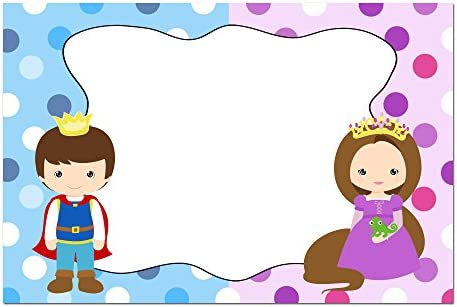 Amazon 30 Blank Cards Invitations Thank You Prince Princess Kids Birthday Party White Envelopes Kitchen Dining