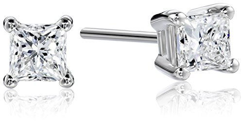 Platinum, Princess-Cut, Diamond 4-Prong Stud Earrings (1/2 cttw, G-H Color, VS2 Clarity)