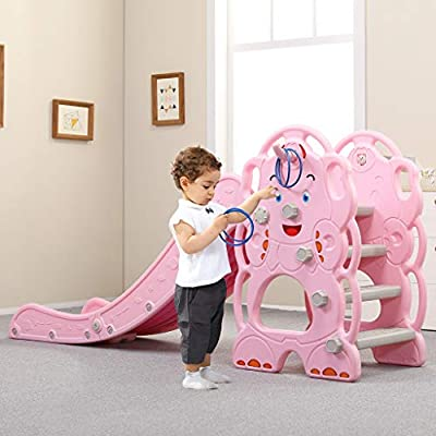 Mostbest Kids Elephant Slide with Basketball Hoop, Sturdy Toddler Slipping Slide Climber Stairs for Indoor Outdoors Games, Playground Equipment Set Children's Slide Basketball Fram: Toys & Games