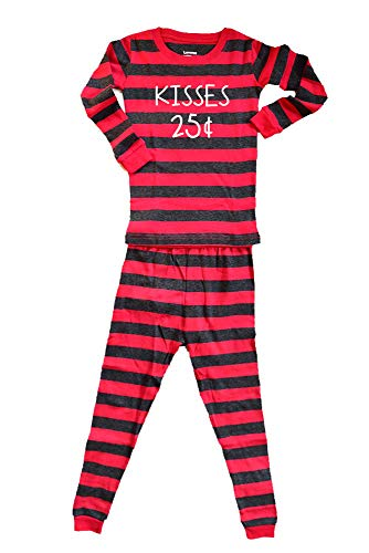 Kisses 25 Cents Pajamas Boy or Girl - Kids Cousin Matching PJs - Valentines Day Red/Gray