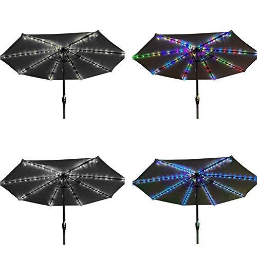 WISREMT Luces de sombrilla solares, luz de Cuerda Impermeable para sombrilla de Patio con Clip, 8 Cuerdas de luz, 104 LED, iluminación Exterior, Cubierta de Playa, decoración de Fiesta en el jardín