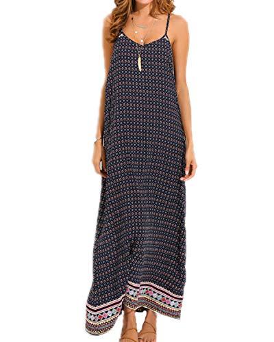 kenoce Women's V Neck Print Spaghetti Strap Dress Polka Dots Long Maxi Summer Beach Sundress L ()