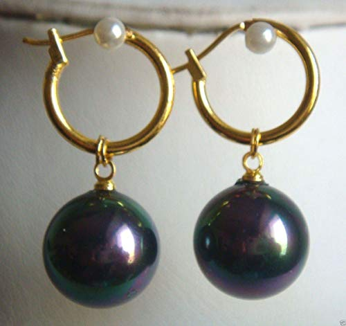 FidgetFidget Fashion 14mm Color South SEA Shell Pearl Plated Dangle Earring PE228 Black Colorful -
