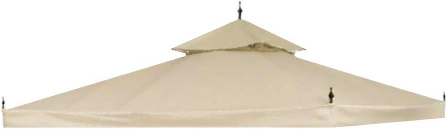 Yescom 10x10ft 2-Tier Waterproof Gazebo Canopy Replacement Beige Outdoor Garden Yard Patio Top Cover