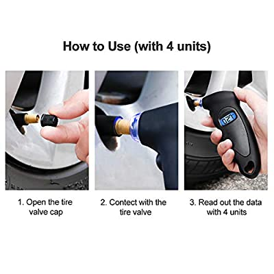 VDIAG Digital Tire Pressure Gauge 0-100 PSI 0-7 BAR 4 Settings Backlit LCD Display Non-Slip Grip and Lighted Nozzle Accurate Measurement Easy to Read Universal for Cars Trucks Bicycles Motorcycles: Automotive