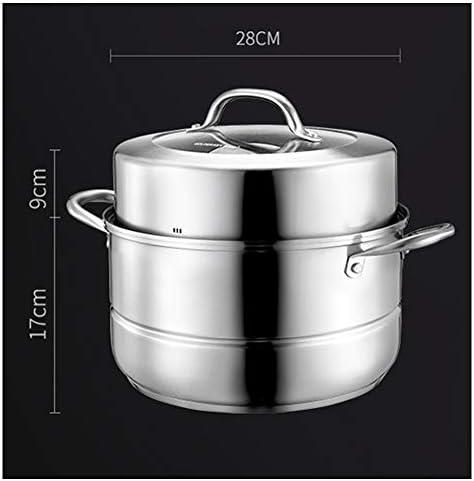 Casserole à Vapeur Vapeur En Acier Inoxydable Multicouche Steamer,Cuisinière à induction/cuisinière à gaz épaissie par le bas de ménage de 2 couches universelle