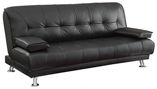 Convertible Sofa Bed with Removable Armrests Black
