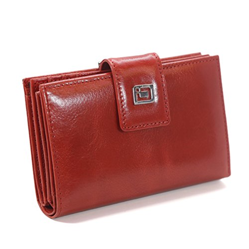 RFID Wallet 16 Slot Bifold with Clasp Coin Section - RFID Blocking Ladies Wallet