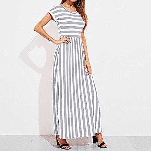 Lungo Dress donna Manica Elegante Maxi Vestito da Donna Largo Casual Estate Sysnant Sexy Vestito Pois Vestiti Elegante Abito Grigio Dress a Donna Tasca senza Abito Con 56IOw5qF