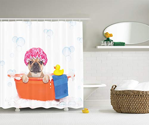 Ambesonne Dog Lover Shower Curtain, Dog Having a Bath in a Tub with Rubber Duck Cleaning Theme on Bubbles Background, Cloth Fabric Bathroom Decor Set with Hooks, 70