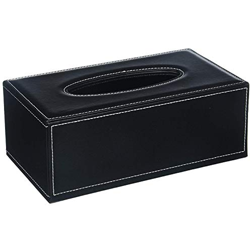 - Science Purchase PU Leather Tissue Cover Box Case Holder for Home Office Car Automotive (Black)