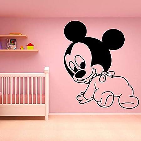 wZUN Ratón bebé calcomanías Dormitorio de los niños habitación de bebé decoración del hogar Pegatinas de Vinilo de Pared calcomanías de Pared de Dibujos Animados Lindo 50X57cm