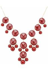 Color Bubble BIB Statement Fashion Necklace - Wine Red