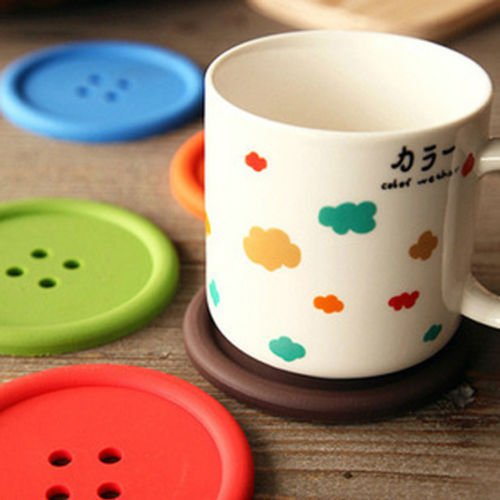 Lariy 5x Silicone Coffee Placemat Button Coaster Cup Mug Glass Beverage Holder Pad Mat