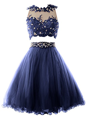 MACloth Women Two Piece Lace Tulle Short Prom Dress Homecoming Party Formal Gown Azul Marino Oscuro