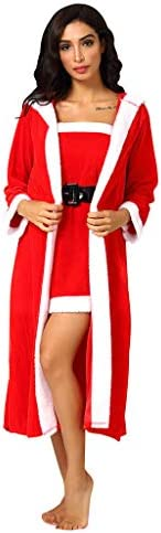 Women Sexy Hooded Robe Velvet Strapless Lingerie Long Sleeve Bathrobe with Belt Pajamas Set Nightwear Sleepwear