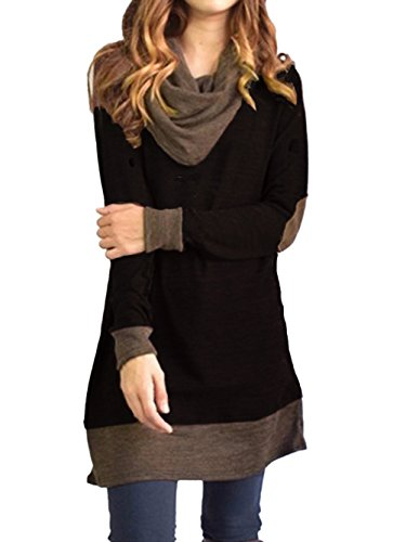 Famulily Women's Cowl Neck Tops Two Tone Color Block Pullovers Elbow Patchs Loose Long Tunic Blouse (Medium, (Extra Long Work Shirt)