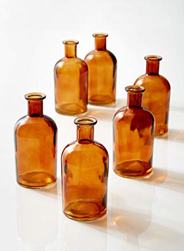 Serene Spaces Living Amber Medicine Bottle Bud Vases, Set of 6 - Antique Glass Bottles, 5.25