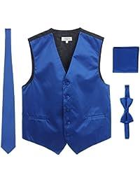 Men's Formal Vest, Bowtie, Tie, Pocket Square, 4 Piece Set