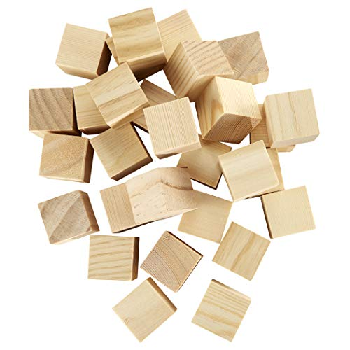 Artlicious - 40 Unfinished Wooden Cubes - 1.5 Solid Wood
