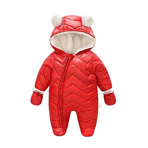 (Ding Dong Baby Boy Girl Winter Hooded Puffer Jacket Snowsuit with Gloves(Red,3-6M) )