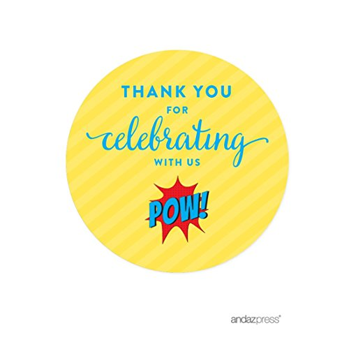 Andaz Press Birthday Round Circle Labels Stickers, Thank You for Celebrating With Us, Superhero Pow Bam, 40-Pack, For Gifts and Party Favors