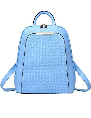 Menschwear Moda Mujer Chica funda mochila escolar bolsa Plateado Ligero Azul