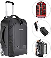 Newer 2 in 1 Camera Sliding Backpack, Travel Bag, Converterable, with Shockproof Dual Handle, with Removable Padded...