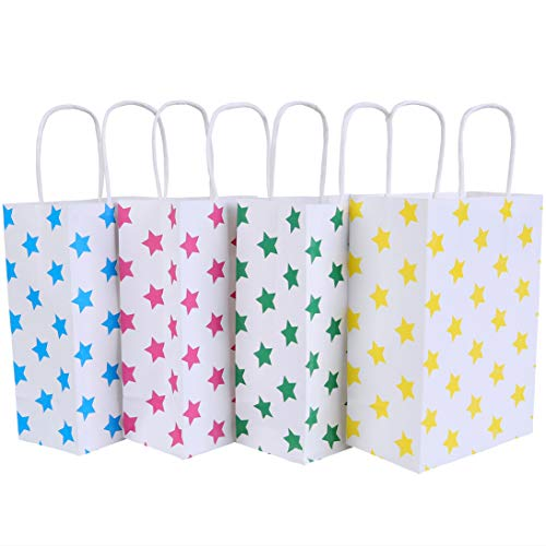 24 Pieces Kraft Paper Party Favor Bags with handle Assorted Colors (Star)]()
