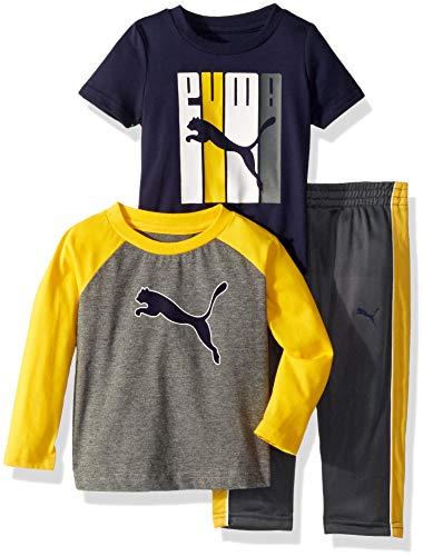 PUMA Baby Boys' Tricot Pant Set, P011 Charcoal Heather, 12M