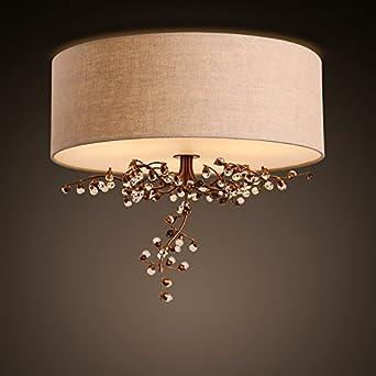 American Crystal Decke Lampe Kontinentalen Pastorale Stoff Eisen Blumen Romantische Schlafzimmer Wohnzimmer Durchmesser