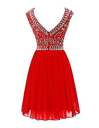 Braut Cocktailkleider Chiffon Damen Kurzes Partykleider mia Orange Weiss Tanzenkleider Festlichkleider La Abendkleider Mini 05Wq6W