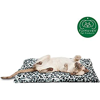 Furhaven Pet Dog Bed Heating Pad | ThermaNAP Quilted Faux Fur Insulated Thermal Self-Warming Pet Bed Pad for Dogs & Cats, Snow Leopard