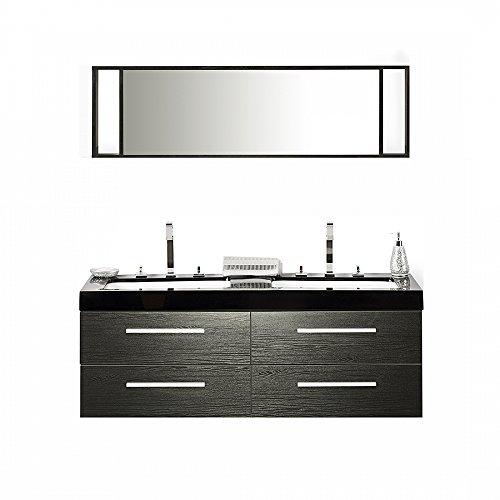 [Beliani 7081452678002 Malaga Black Bathroom Vanity with 4 Drawers, Double Sink and Mirror Living Room Furniture Sets] (Drawers Double Sink Vanity)