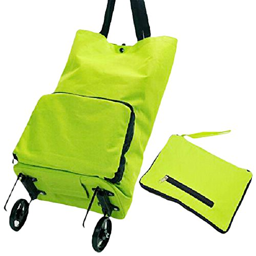 Home Shopping Shopping Small Pull Cart Folding Luggage Cart Portable Trailer (all green)