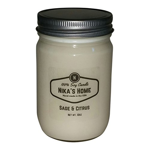 12 Oz Light Sage - Nika's Home Sage & Citrus 12oz Mason Soy Candle
