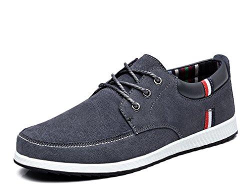 Grey Scarpe piatte S1622 in pelle da da pelle maschili Stringate barca uomo scamosciata Mocassini casual uomo Sneaker Scarpe basse Mocassini da in 1H1xqRr