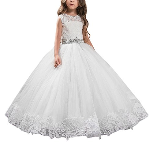 - AbaoSisters Floral Appliques Fluffy Girl Ball Gown (8, White)