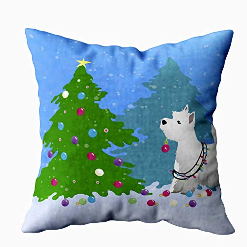 Shorping Zippered Pillow Covers Pillowcases 20X20 Inch Westie Decorating a Christmas Tree in The Forest Decorative Throw Pillow Cover,Pillow Cases Cushion Cover for Home Sofa Bedding